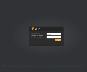 TYPO3 Neos Login Screen